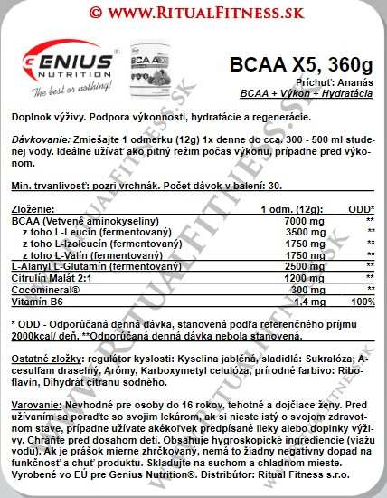 Genius BCAA X5, 360g Pineapple