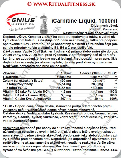 Genius iCarnitine Liquid, 1l